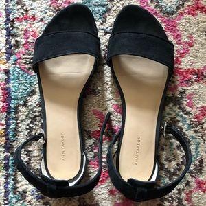 Ann Taylor black Aislyn suede ankle strap sandals